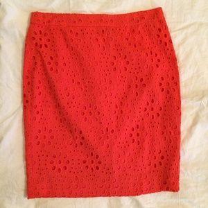 J. CREW sz 8 Coral Eyelet The Pencil Skirt NWT
